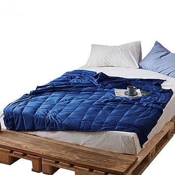 Textile Manta De Gravedad Mejore El Sueño Y El Alivio del Estrés - Manta Ponderada (Azul) (Tamaño : 150 * 200cm-15lbs): Amazon.es: Hogar