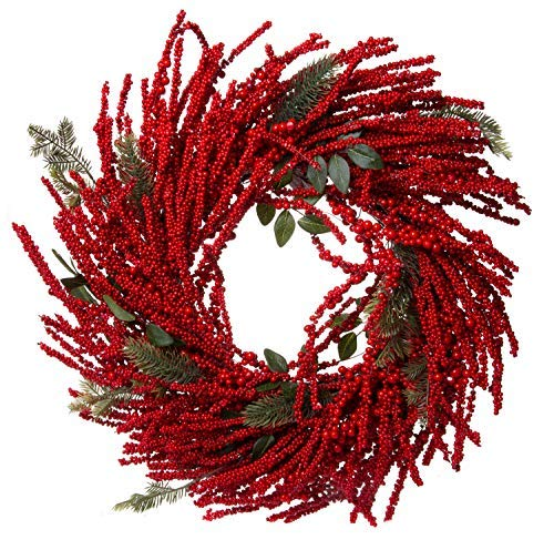 Vibrant Artificial Red Berry Burst Wreath - Great Front Door and Wall Winter Christmas Decoration - 28 Inches ()