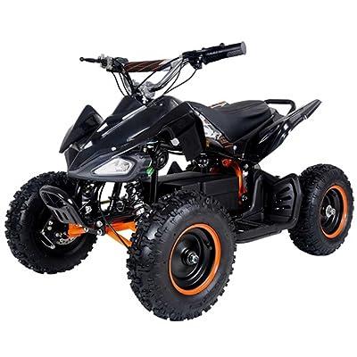 FamilyGoKarts 500 Watt Electric Four Wheeler ATV Kids Sport Quad for Children w/Reverse - Black/Orange: Toys & Games