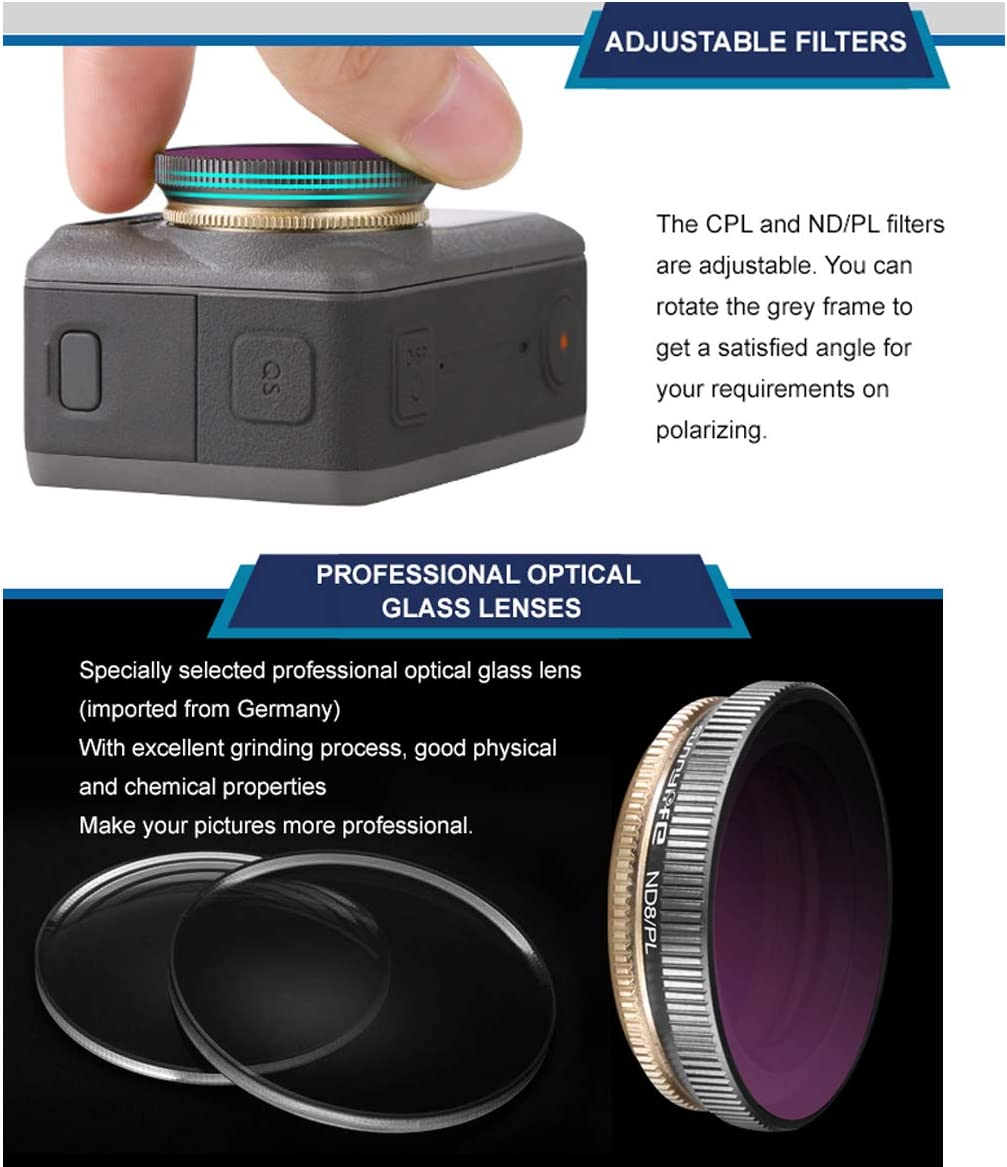 Ngaantyun ND CPL Filters Series CPL+ND8+ND16 Mix Lens Filters Set Compatible with DJI OSMO Action Gimbal Camera Accessories
