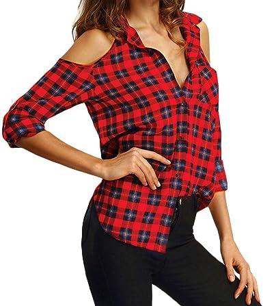 Camisa De Leñador Mujer Primavera Elegante Moda Shirt Un Solo Pecho Manga Largo Irregular Bolsillos Delanteros Basic Sin Tirantes Camisa Casuales Cómodo Hipster Camisas Ropa: Amazon.es: Ropa y accesorios