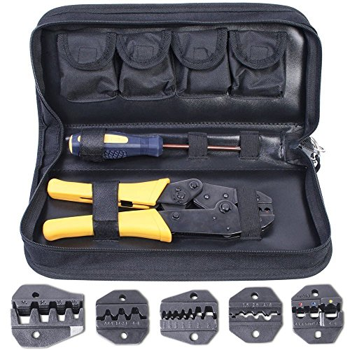 Amzdeal Crimping Tool Kit Ratchet Terminal Connector Plier Crimper 5 Interchangeable Die Sets Insulated Non-insulated Cable Wire Crimper Tool with Bag