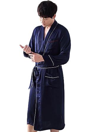 DAFREW Pijama/camisón de seda para hombre - Mobiliario de casa de manga larga en