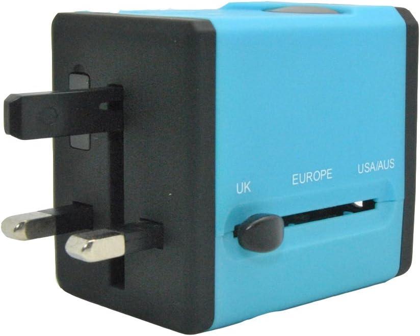 LX7 Adaptador De Corriente De Viaje USB Universal Adaptadores De Cubo De Worldwide International Para Reino Unido/UE/EE. UU./AU Alrededor De 150 Países Fusión De Seguridad,Blue