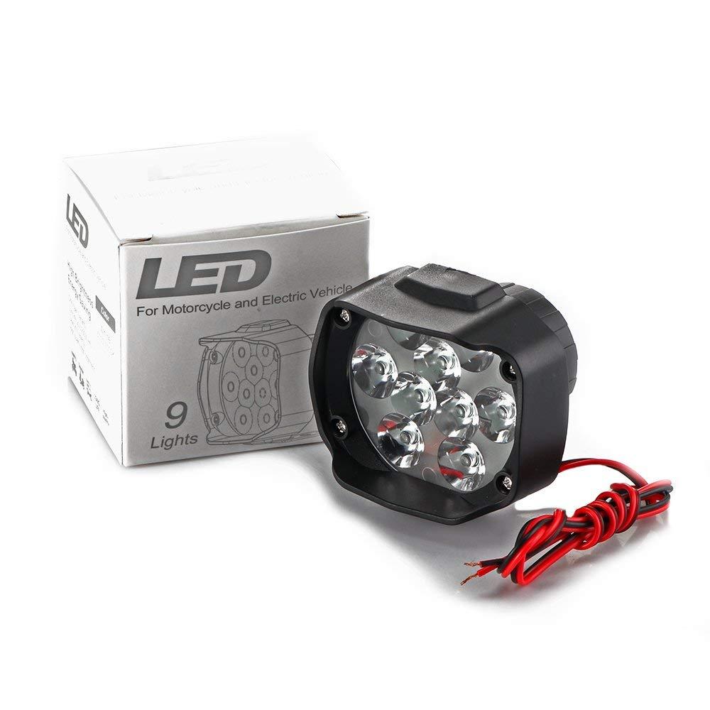 tioodre Moto Luz phare Lampe 15/W 9led y Scooter phares anti-brouillard Spotlight 6500/K Blanc drl Moto de travail Spot Light