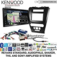 Volunteer Audio Kenwood DNX574S Double Din Radio Install Kit with GPS Navigation Apple CarPlay Android Auto Fits 2010-2012 Fusion (Black)