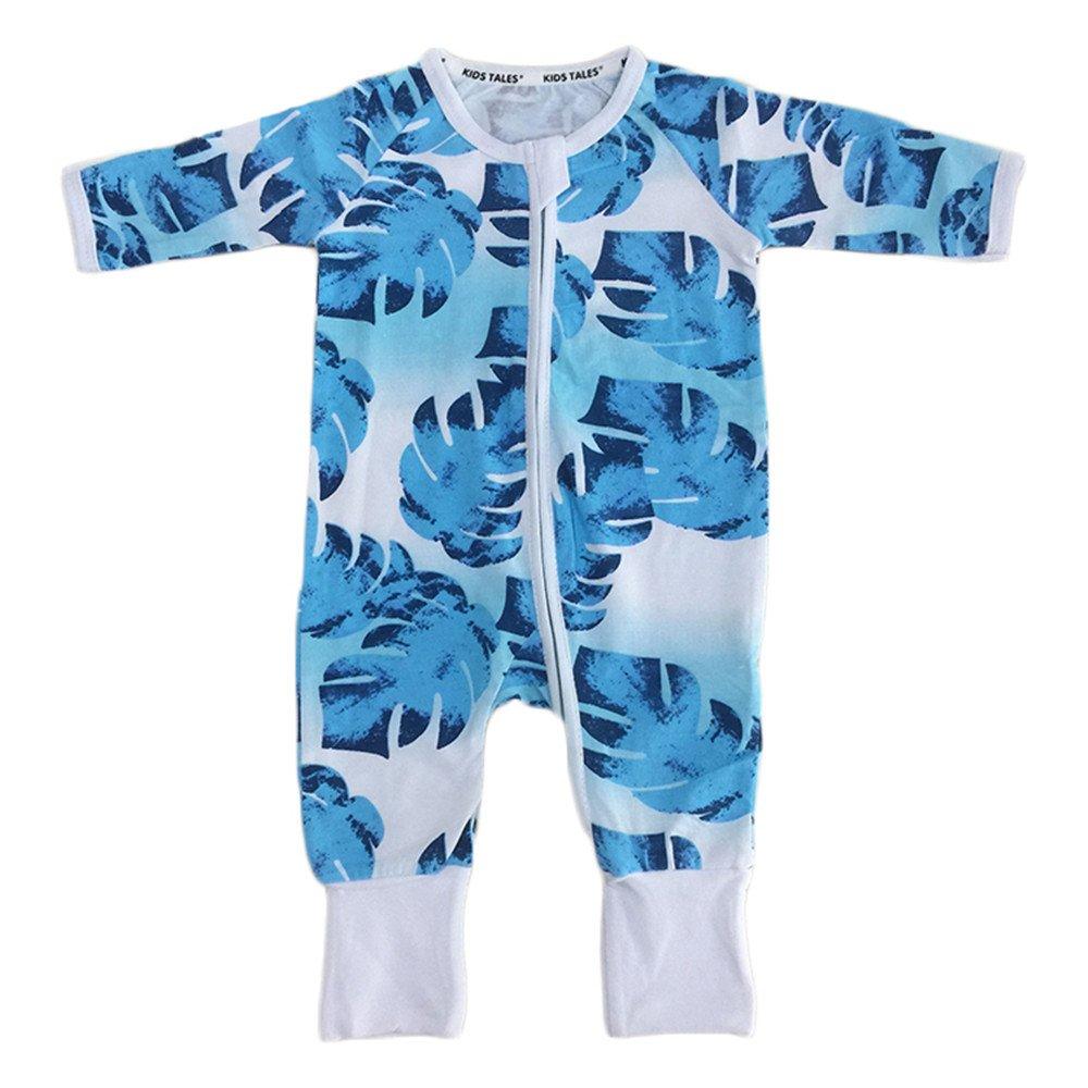 Kids Tales Leaf Blue Footed Zipper Pajama Sleeper Cotton Romper(Size 4-24M) Fuzhou Shang Ku Trade Co. Ltd.