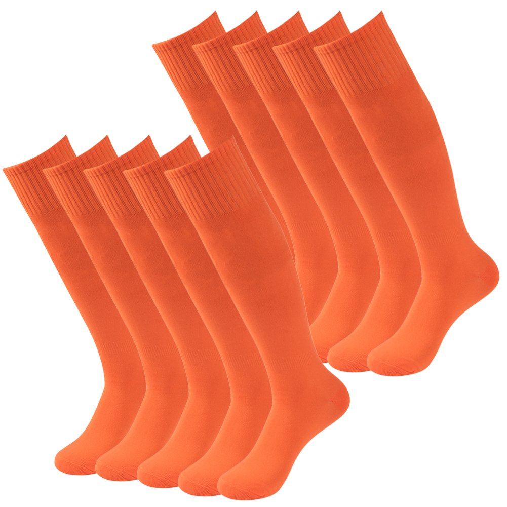 Boys Soccer Socks Three street Youth Adults Over Knee Solid Durable Sport Athletic Football Baseball Soccer Compression Socks for School Gift Game Orange 10 Pairs by Three street
