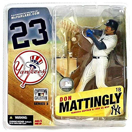 Cooperstown Series 3 Don Mattingly: NY Yankees White Pinstripe Jersey with Blue Helmet (Stadium Plaques Yankee)