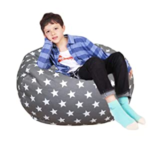 Lukeight Stuffed Animal Storage Bean Bag Chair, Bean Bag Cover for Organizing Kid's Room - Fits a Lot of Stuffed Animals, X-Large/Stars&Gray