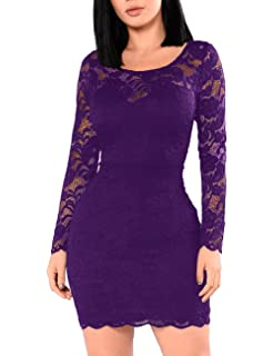 8a53353a89 Miishare Women s Floral Lace Long Sleeve Bodycon Cocktail Party Dresses