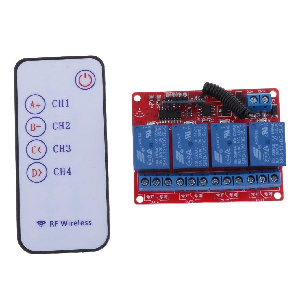 12V Module Relais Quatre Canaux RF 4ch Commutateur Sans Fil Commande /à Distance 433mhz