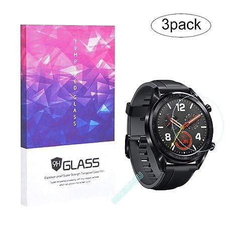 BECEMURU Protecteur décran Huawei Watch GT Protecteur de Verre Trempé 9H Pleine Couverture Huawei Watch GT (3 Paquet)