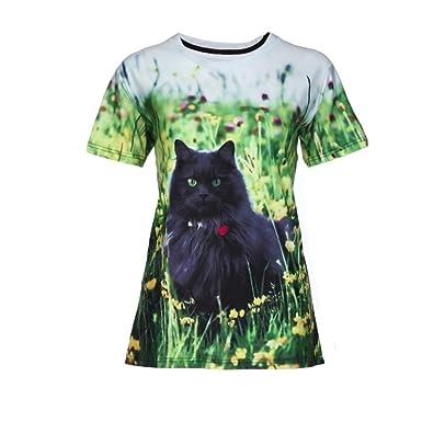 b2ce5d0d20c4f2 Gusspower Frauen Freizeit T-Shirt Modisch 3D Kat Drucken Tees Shirt Kurzarm  O-Ausschnitt