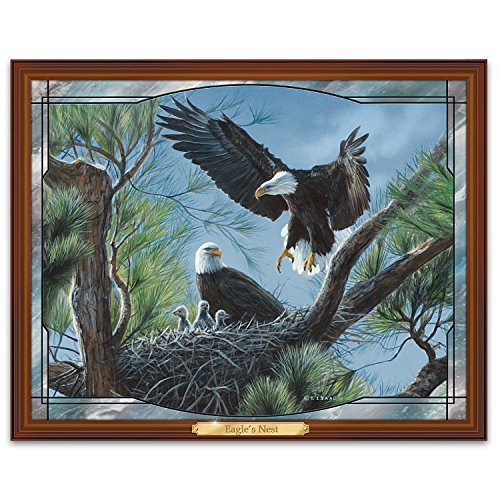 Bald Eagle Stained Glass - Terry Isaac Eagle Nest Light Up Stained Glass Wall Decor by The Bradford Exchange