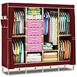 HHAiNi Portable Wooden Wardrobe Closet, Super Large Clothes Storage Organizer, Free Standing Cabinet Rack, Sturdy Fully-enclosed Armoire + Free 4 Storage Boxes