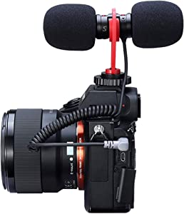 Dual Headed Universal VideoMic for DRLS On-Camera Microphone with Shock Mount, Deadcat Windproof 1/8'' Adapter Podcast Recording Mic System Compatible with Smartphones, Tablets, PC, Nikon Cameras