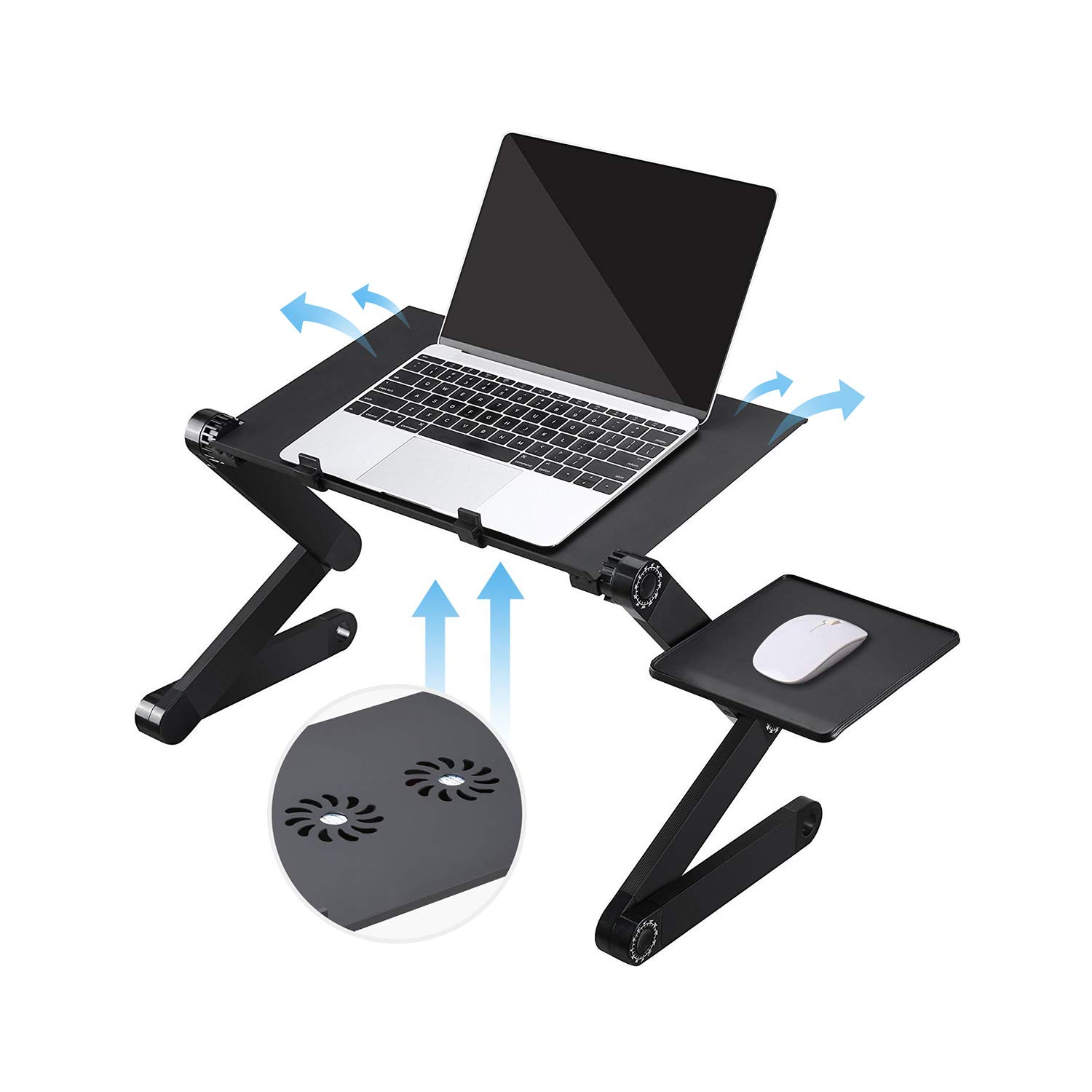 Laptop Desk with Fan, Laptop Stand for Bed and Sofa, Portable Adjustable Laptop Stand Table Desk with 2 CPU Cooling Fans and Mouse Pad, Ergonomic Lap TV Bed Tray Aluminum Cozy Desk for Home Office Use