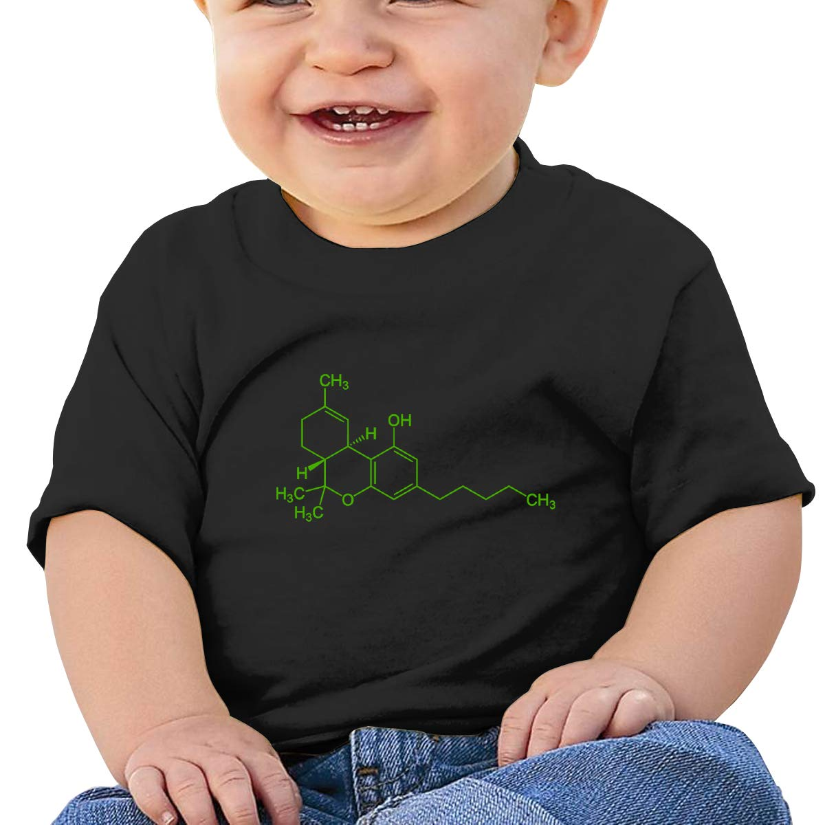 THC Molecule Weed Cannabis Logo Baby T-Shirt Baby Boy Girl Cotton T Shirts Comfort Tops for 6M-2T Baby