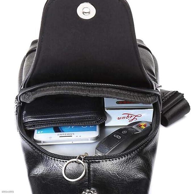 01f24321d11b Amazon.com: YJRDA Men's Chest Bag, Slant Bag Shoulder Soft Leather ...