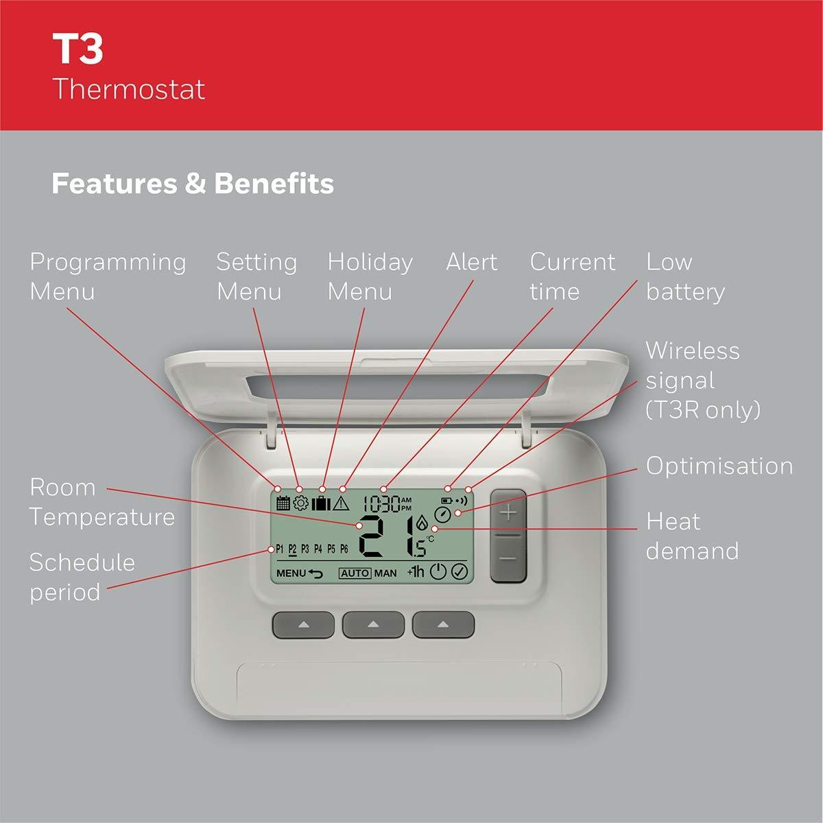 Termostato T3 cableado programable 7 d/ías de Honeywell Home