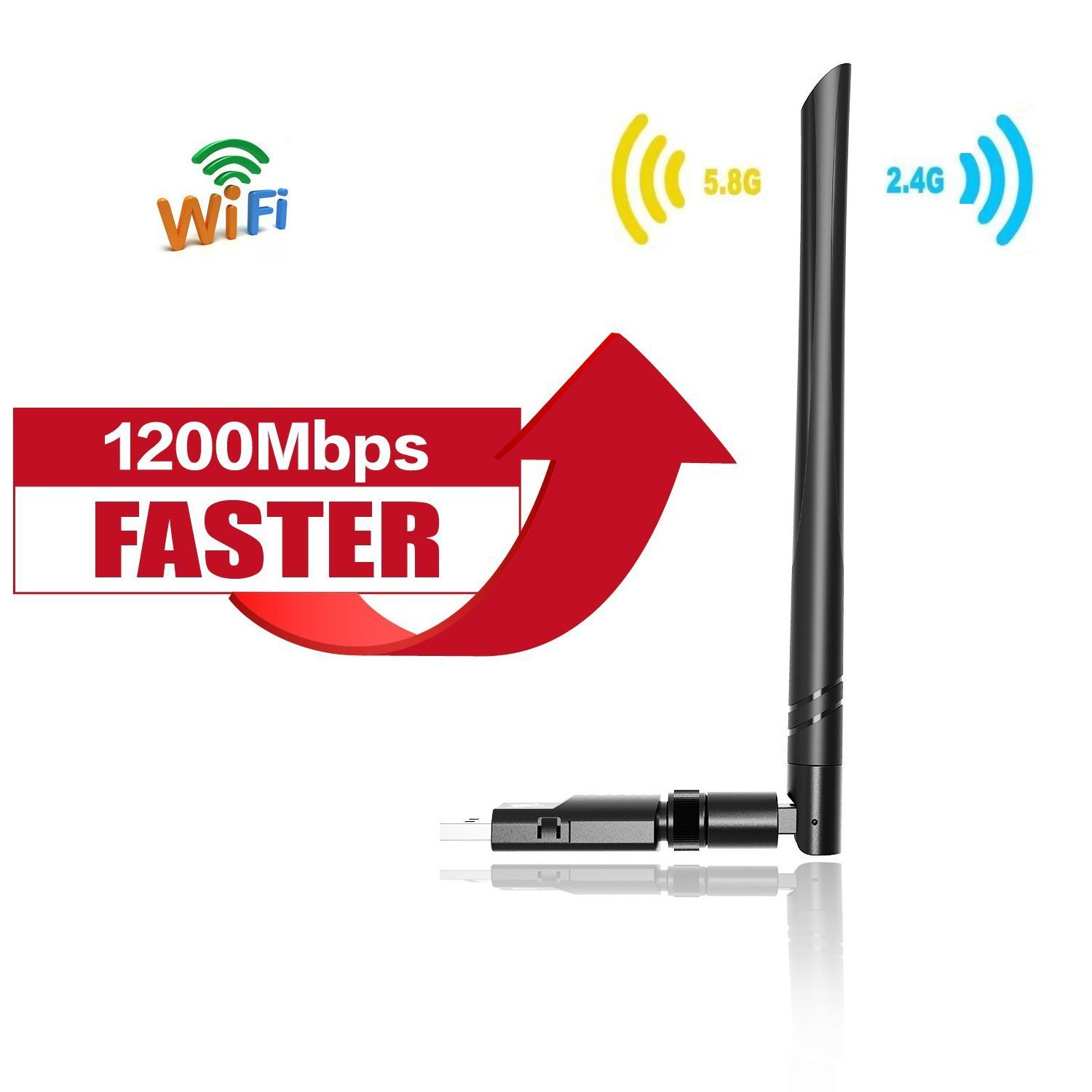 Wechip WiFi Adaptador 1200Mbps 5dBi Antena WiFi USB Inalámbrico Dual Band (5GHz 866Mbps / 2.4GHz 300Mbps) Receptor WiFi Dongle WiFi para Windows 10/8.1/8/7/XP/Vista Mac OS
