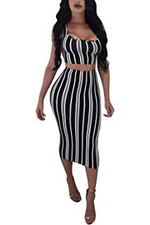 b225d9485 LaSuiveur Womens Crop Top Midi Skirt Outfit Two Piece Bodycon Bandage Dress