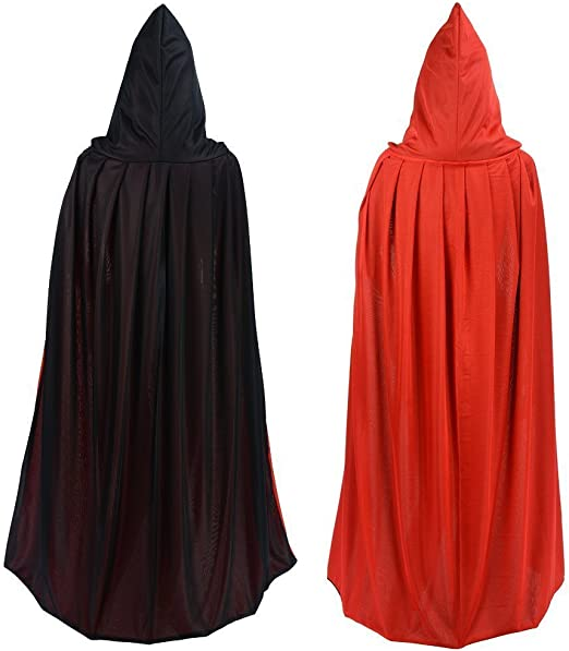 1x Black /& Red Reversible Cape Robe Cloak Halloween Vampire Witch Costume Props