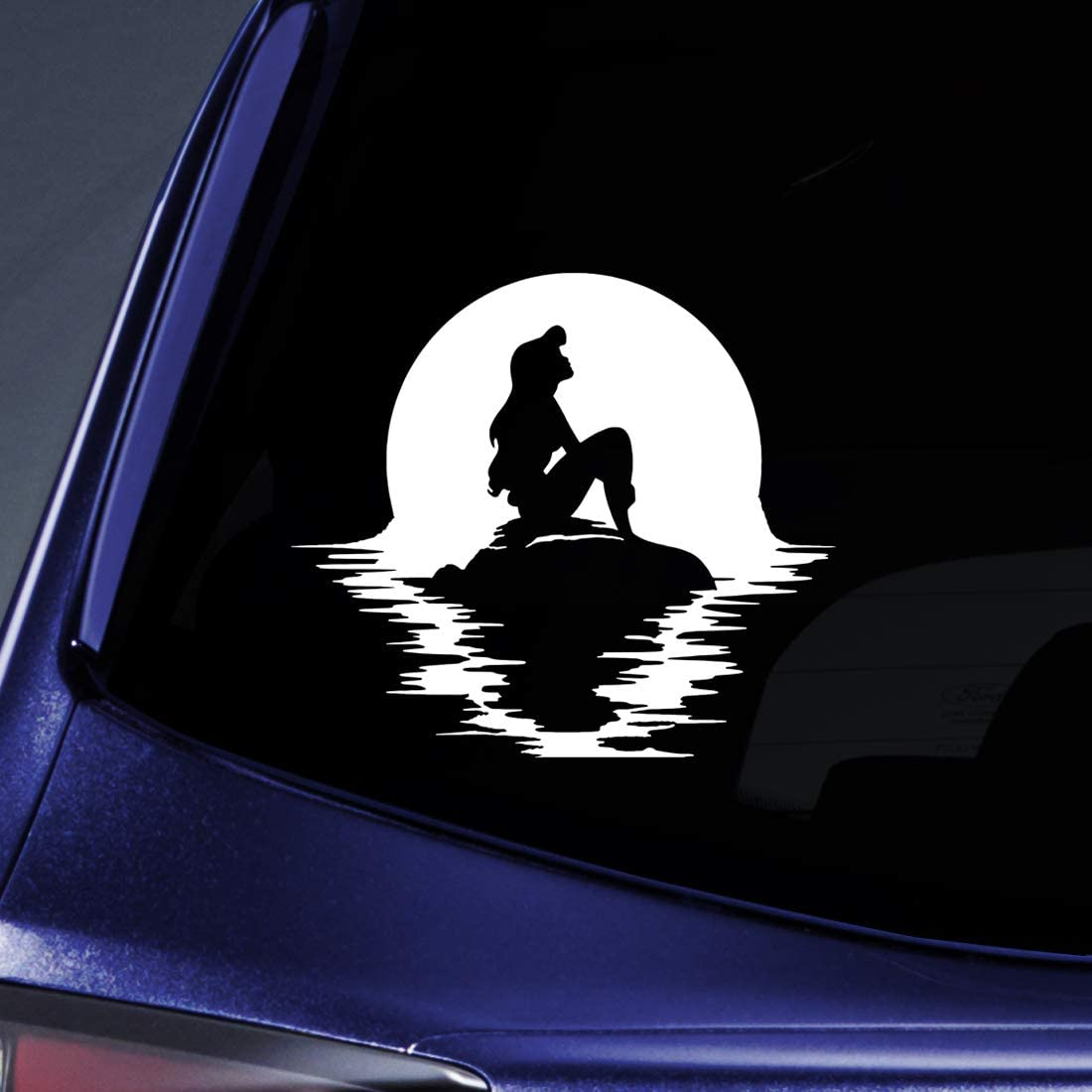 """Bargain Max Decals Mermaid Sitting on Rock Sticker Decal Notebook Car Laptop 5.5"""" (White)"""