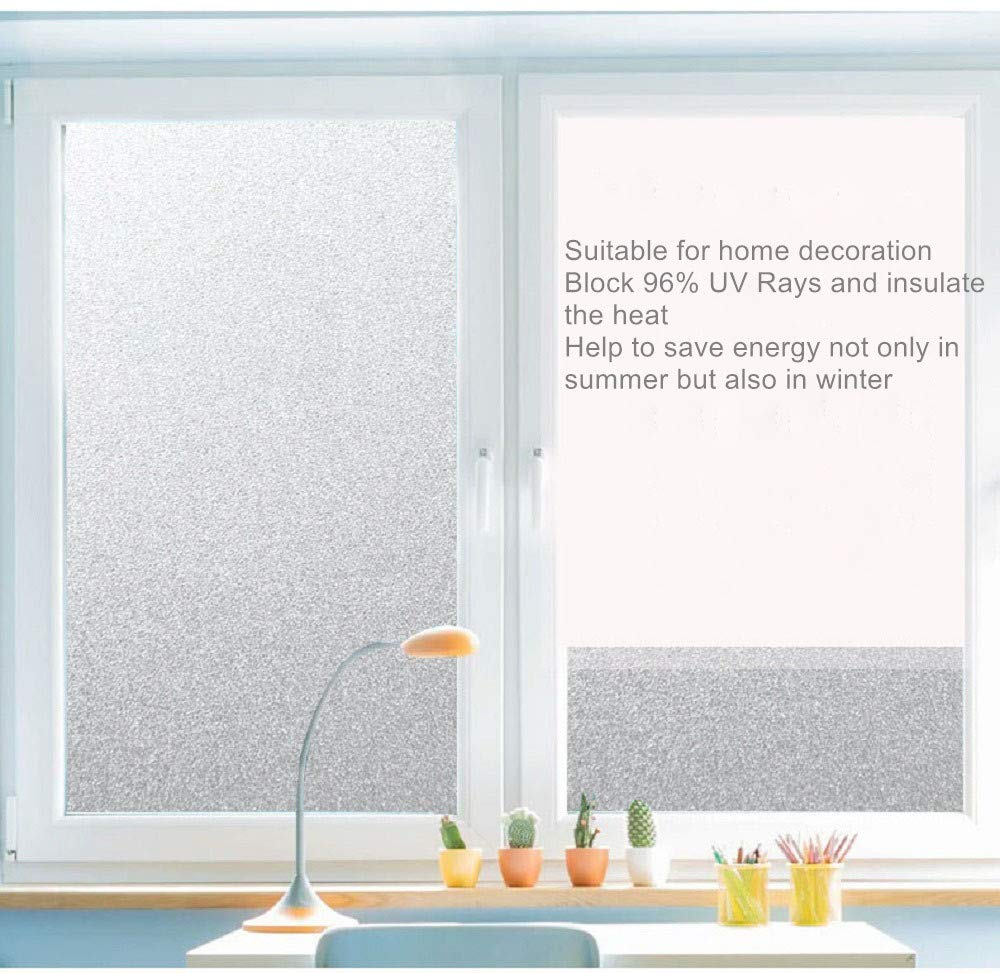 chinacam66 Privacy Window Film Frosted Glass Stickers 45 * 200cm Self Adhesive & Anti-UV Window Cling for Living Room Bedroom Bathroom Office Meeting Room