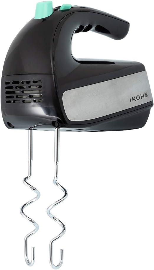 IKOHS SWEETMIX - Batidora de Varillas Eléctrica con Base, Amasadora, 500w, 5 Velocidades con Función Turbo, Acero Inoxidable, Reposteria, 2 Tipos de Varillas, Amasar, Mezclar, Montar, Color Negro-Gris: Amazon.es