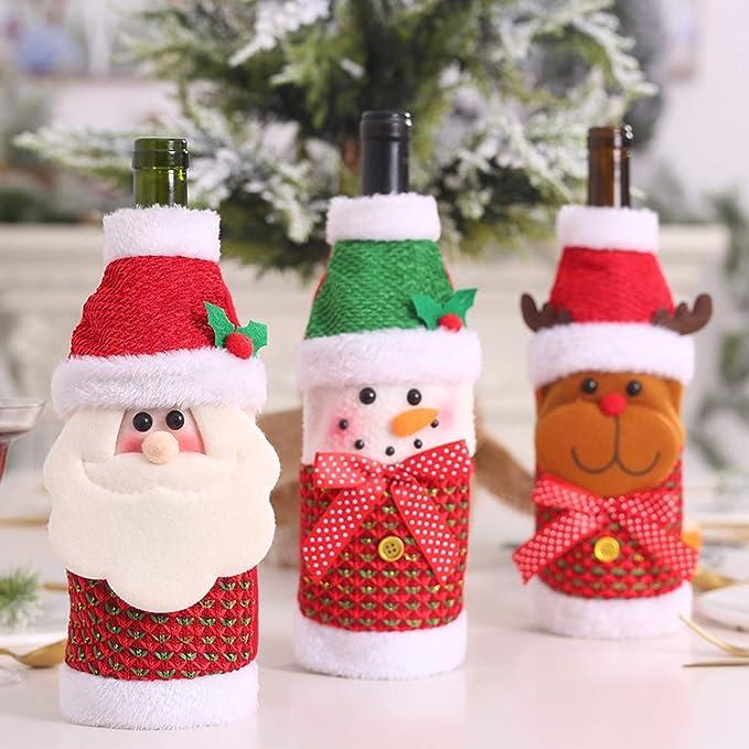 H x0.8 L //10.6 x4.7 x12cm W Red x2cm MA87 Copribottiglia di vino con pupazzo di neve per regali di Natale 27cm W H L