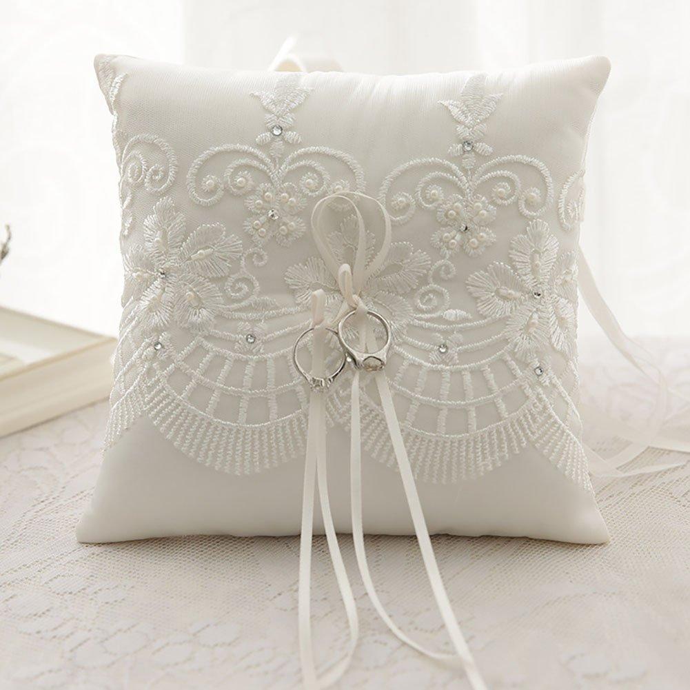 SILKTALK Almohada de Anillo Hecha a Mano de Boda Romántica Satín Flor con Diamante de Imitación Anillo Cojín Portador 21cm*21cm