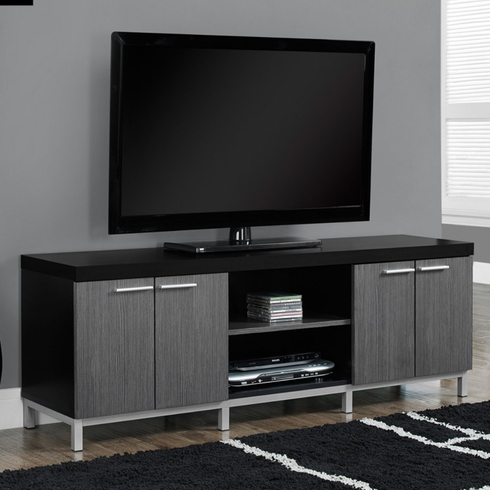 Contemporary TV Stands For Flat Screens Black Gray Wooden Enclosed Media  Storage Cable Wire Management System Universal Entertainment Center Stand  Mount ...