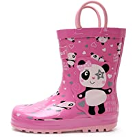 Apakowa Niño Niños Niñas Botas de Lluvia con Estampado de Dinosaurios Zapatos de Goma de Lluvia con Manijas Fáciles para…
