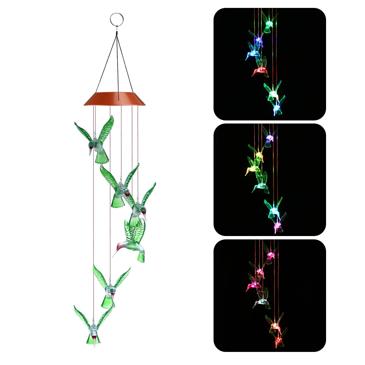 LED Solar Wind Chimes, Changing Color Hummingbird Lamp Automatic Sensor Garden Spinner Outdoor Lights for Home Party Decorations YUNLIGHTS