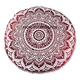Bohemian Round Pillow Cover,Cushion Case- 32'' Hippy Large Floor Pillow Cushion Cover, Indian Mandala Round Puff, Pom Pom Pillow Cover Hande Printed Organic,Dogs Ottoman Throw Decorative Zipped
