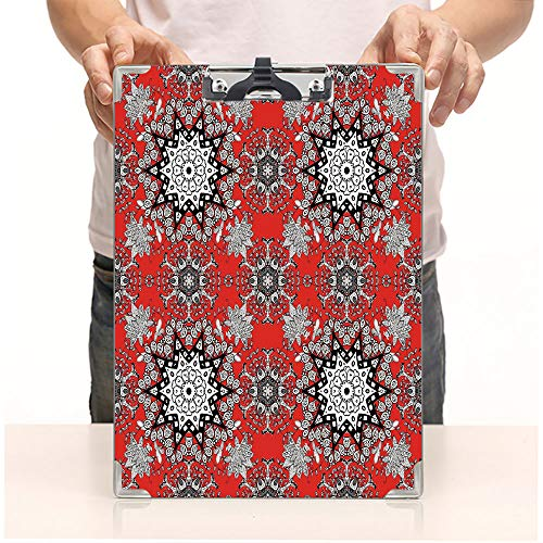 - Custom Printing Clipboard,Hardboard Clipboard Pack,Swirls Leaves Lace Seem Hand Drawn Image,Office School Workers Business use