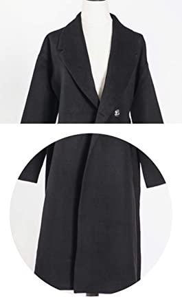 Fall Winter Cashmere Look Robe Belted Coat Woolen Outerwear Manteau Femme Abrigos Mujer,Black,