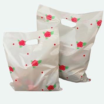 Rimandy 50 Bolsas de plástico con Estampado de Flores Rosas ...