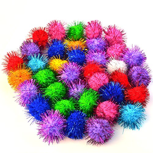 baotongle 70 PCS Assorted Color Sparkle Balls, Tinsel Pom Poms Glitter For Cat kittens (Sparkle Cat)