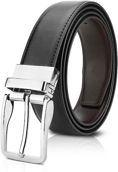 Réversible pour homme en cuir véritable ceinture véritable qualité pantalon formelle boîte cadeau
