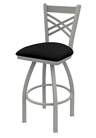 Holland Bar Stool Company 820 Catalina 25-Inch Counter Stool with Anodized Nickel Finish, Black Vinyl Seat and 360 Swivel