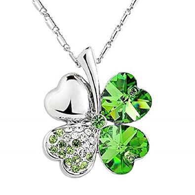 fe29ca0f8b1589 Image Unavailable. Image not available for. Color  Shamrock Four Leaf Clover    Heart Necklace with Swarovski Crystal