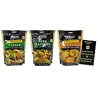 Reese Premium Salad Croutons 3 Flavor Variety - (1) each: Caesar, Herb Seasoned, Garlic Cheese (5-6 Ounces) - Plus Recipe Booklet Bundle