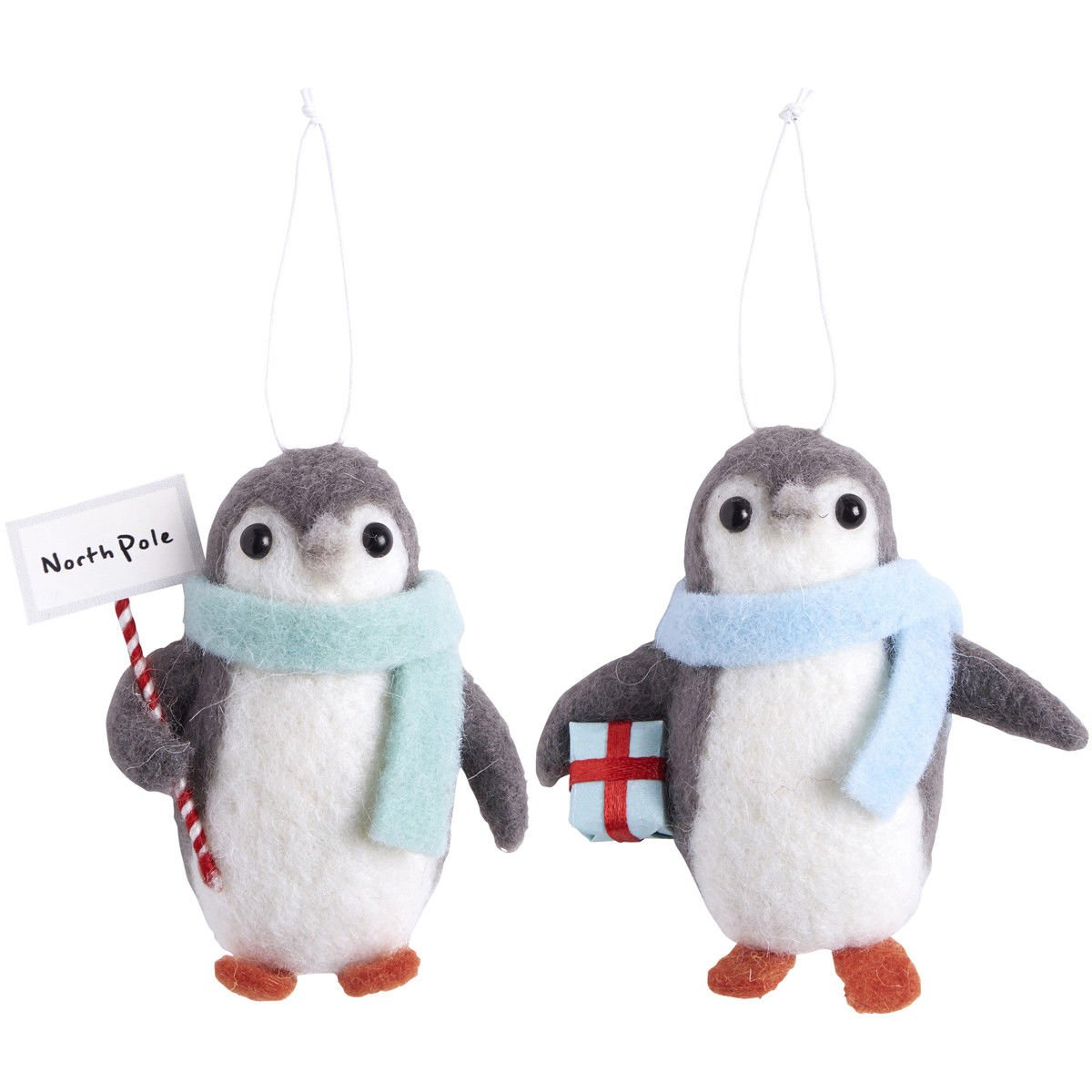 Homes on Trend Set Two Felt Vintage Style Hanging Winter Penguin Christmas Tree Decorations