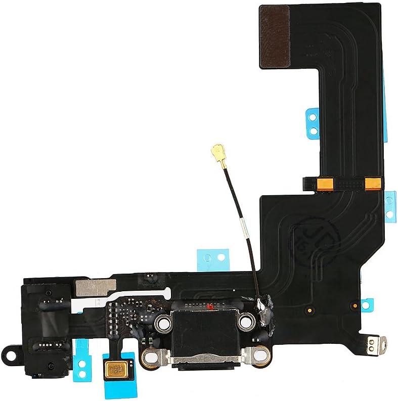 FirefixTM Charging Port Dock Connector Flex Cable Microphone Headphone Audio Jack Replacement Part for iPhone 5S Black