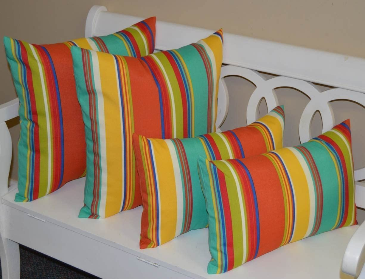 RSH D cor Set of 4 Pillows 2 x 17 Square 2 Rectangle Lumbar Coral, Yellow, Turquoise, Red, Blue, Green, White Bright Colorful Stripe Indoor Outdoor Pillows