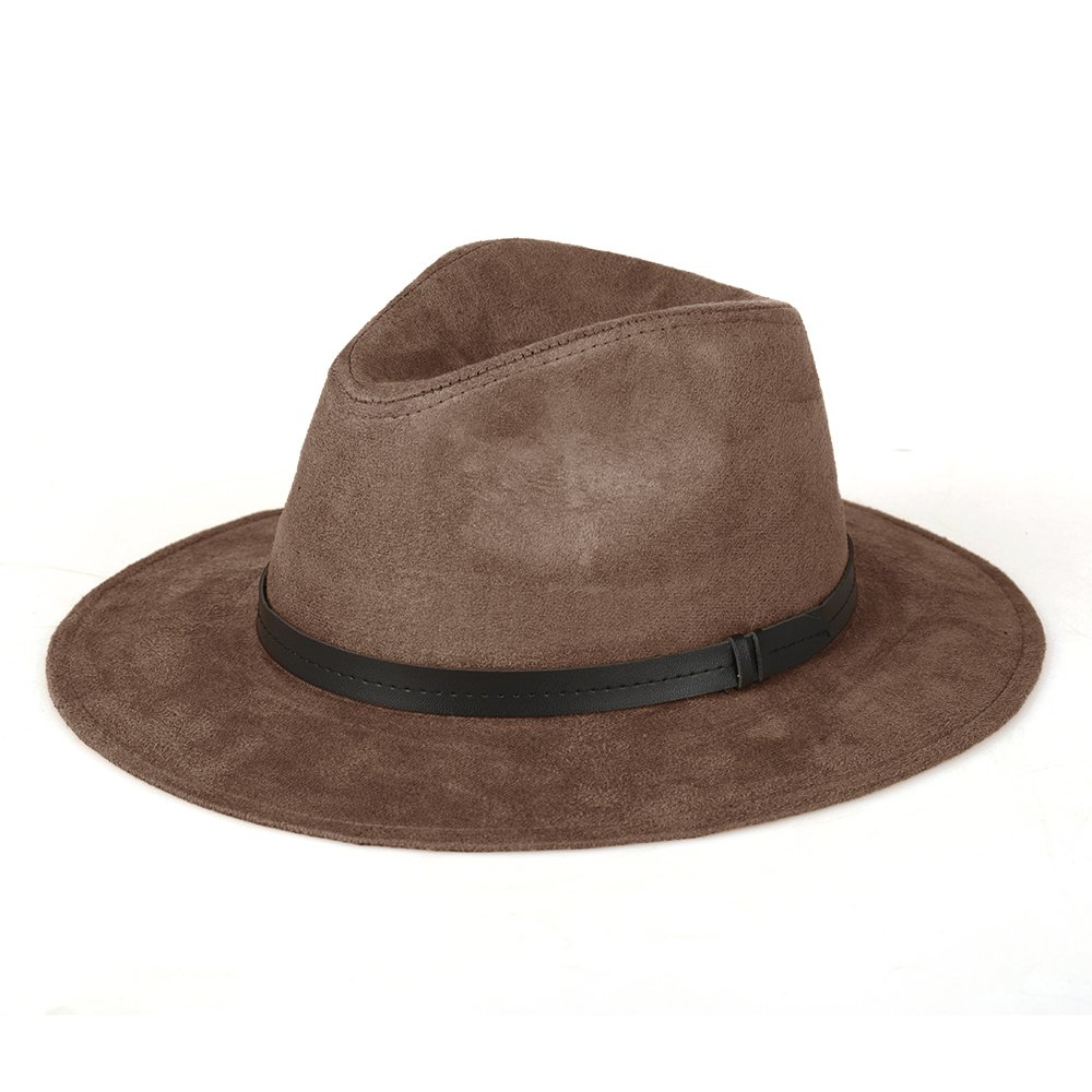 JOOWEN Classic Leather Band Wide Brim Suede Cap Fedora Top Hat (Coffee)