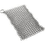 KitchenGear Cast Iron Cookware Cleaner, Iron Skillet Chainmail Scrubber Jumbo
